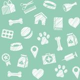 Pet products, seamless pattern, shading pencil, blue-green, vector. The goods for Pets. Veterinary care. Colored, flat background. Hatching a white pencil on Royalty Free Stock Photo