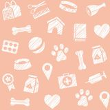 Pet products, seamless pattern, shading pencil, pink, vector. The goods for Pets. Veterinary care. Colored, flat background. Hatching a white pencil on the pink Stock Photography