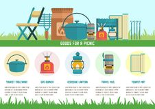 Goods for Picnic Flat Vector Landing Page Template stock illustration