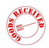 Goods received. Good received stamp for delivery signature Stock Photography