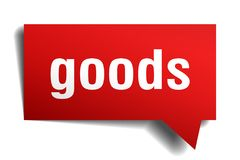Goods red 3d speech bubble. Goods red 3d square isolated speech bubble royalty free illustration