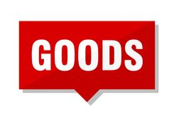 Goods price tag. Goods red square price tag royalty free illustration