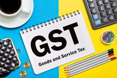 Goods and Service Tax notes in the notebook on the Desk in the o. Ffice. Business concept GST tax stock photos