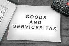 Goods and Service Tax sign on the paper Royalty Free Stock Photography