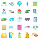 Goods shed icons set, cartoon style. Goods shed icons set. Cartoon set of 25 goods shed vector icons for web isolated on white background Stock Image