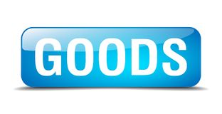 Goods button. Goods square 3d realistic isolated glass web button. goods vector illustration