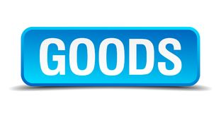 Goods button. Goods square 3d realistic isolated web button. goods royalty free illustration