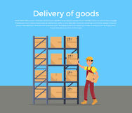 Goods in Stock Banner Design Flat. Warehouse stock with a pile of cardboard boxes and package boxes. Delivery and shipping cargo, logistic to storehouse Stock Photography