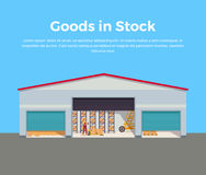 Goods in Stock Banner Design Flat Stock Photo