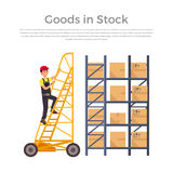 Goods in Stock Banner Design Flat Royalty Free Stock Images