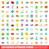 100 goods storage icons set, cartoon style Stock Images