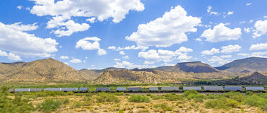 Goods train along the Route 66 Stock Photos