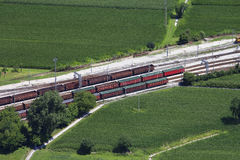 Goods train station. Aerial photo merchandise train station Royalty Free Stock Image