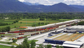 Goods train station. Aerial photo merchandise train station Stock Image