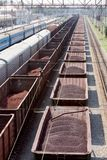 Goods transportation. Few wagons with goods on railway Stock Images