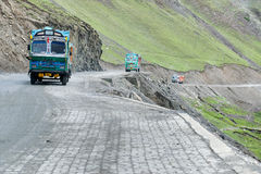 Goods trucks passing through Zoji La Pass, Srinagar Leh Highway Stock Photography