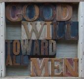 Goodwill in Richtung zu allen Mannwörtern Lizenzfreie Stockfotografie