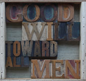 Goodwill toward all men words Royalty Free Stock Photography