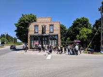 On location filming at Cafe Tropical a fictional restaurant featured in Schitt`s Creek. Goodwood, Ontario, Canada, June 11, 2018: On location filming at Cafe royalty free stock images