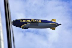 Goodyear Blimp over Hollywood. The new Goodyear Blimp flying over Hollywood royalty free stock photos