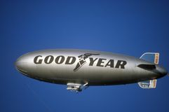 The Goodyear Blimp over Los Angeles royalty free stock photos