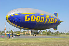 Goodyear Blimp Spirit of America docked. Goodyear blimp at its docking station royalty free stock image