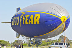 Goodyear Blimp Spirit of America docked. Goodyear blimp at its docking station stock images