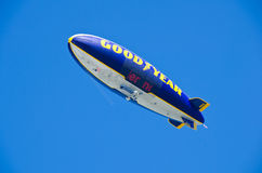 Goodyear Blimp. (Spirit of Innovation) flying over the State Fair of Texas on October 9, 2013 in Dallas, Texas royalty free stock photography