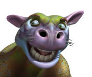 Goofy Alien Cow Portrait. 3D rendered portrait of a goofy alien cow Stock Image