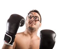 Goofy boxer. With nerd eyeglasses and plasters Stock Photo