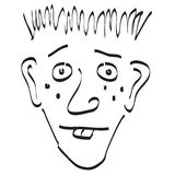 Goofy Face Doodle Black and White. A Silly looking face sketched doodle style Royalty Free Stock Image