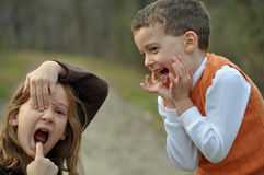 Goofy faces in autumn Royalty Free Stock Photos