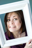 Goofy framed woman Stock Photo