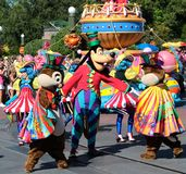 Goofy and friends in a street parade at Disneyworld Stock Image