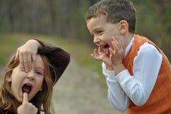 Goofy gezichten in de herfst Royalty-vrije Stock Foto's