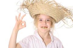Goofy girl ok. Isolared on white Royalty Free Stock Photos