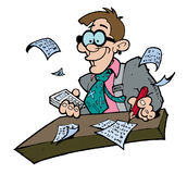 Goofy looking accountant. Illustration of a goofy looking accountant calculating figures at his desk royalty free illustration