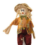 Goofy scarecrow isolated on white. Smiling, well-dressed scarecrow isolated on white background. Good for Halloween or Fall Stock Photos