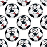 Goofy soccer ball seamless pattern Royalty Free Stock Images