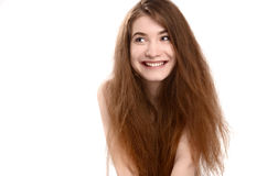 Goofy woman smiling looking to the side. Stock Photos