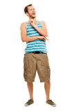 Goofy young man laughing isolated white background Royalty Free Stock Images