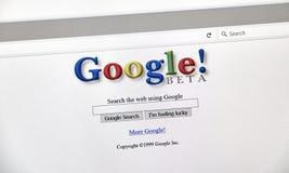 Google 1999 åriga stilsökandesida Royaltyfria Bilder