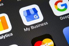 Google το εικονίδιο επιχειρηματικής εφαρμογής μου στο iPhone Χ της Apple κινηματογράφηση σε πρώτο πλάνο οθόνης Google το επιχειρη Στοκ εικόνες με δικαίωμα ελεύθερης χρήσης