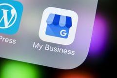 Google το εικονίδιο επιχειρηματικής εφαρμογής μου στο iPhone Χ της Apple κινηματογράφηση σε πρώτο πλάνο οθόνης Google το επιχειρη Στοκ εικόνα με δικαίωμα ελεύθερης χρήσης