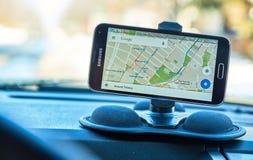 Google составляет карту применение Стоковое Фото