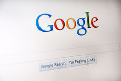 Google. Computer screen with Google main search page closeup Royalty Free Stock Photo