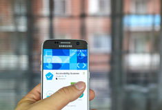 Google Accessibility Scanner. MONTREAL, CANADA - JUNE 23, 2016 : Google app on Samsung S7 screen. Accessibility Scanner is a tool that suggests accessibility Royalty Free Stock Photo
