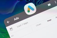 Google ads application. New york, USA - april 8, 2019: Google ads application on digital screen macro close up view royalty free stock photos