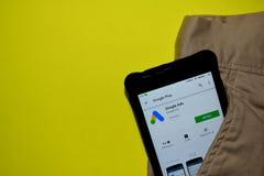 Google Ads dev application on Smartphone screen. BEKASI, WEST JAVA, INDONESIA. DECEMBER 10, 2018 : Google Ads dev application on Smartphone screen. Google Ads stock photography