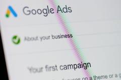 Google ads menu stock image
